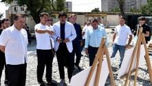 ვარკეთილში საფეხბურთო კომპლექსის სამშენებლო სამუშაოების დათვალიერება